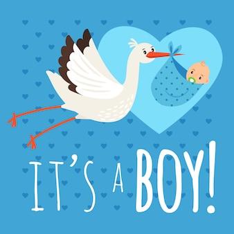 Ooievaar met babyjongen. vliegende ooievaar met pasgeboren peuter vectorillustratie voor felicitatie kaart en verjaardag aankondiging