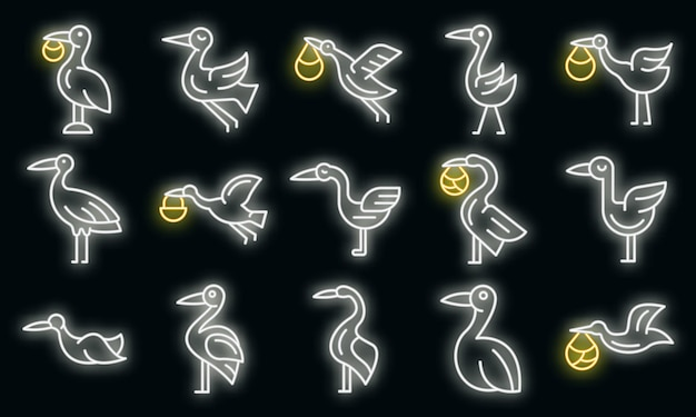 Ooievaar pictogrammen instellen. overzicht set van ooievaar vector iconen neon kleur op zwart
