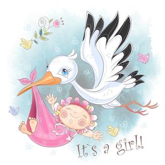 Ooievaar vliegt met baby meisje kaart