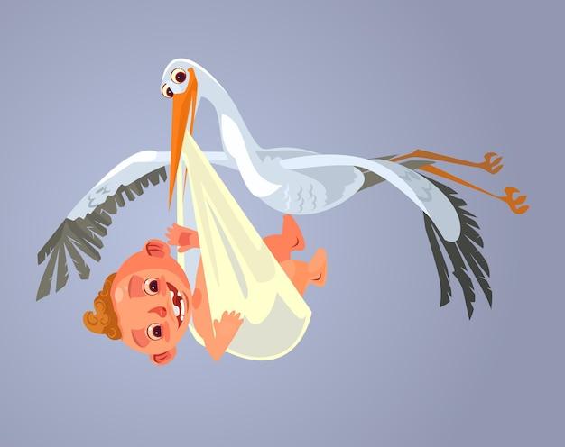 Ooievaarskarakter draagt baby cartoon afbeelding