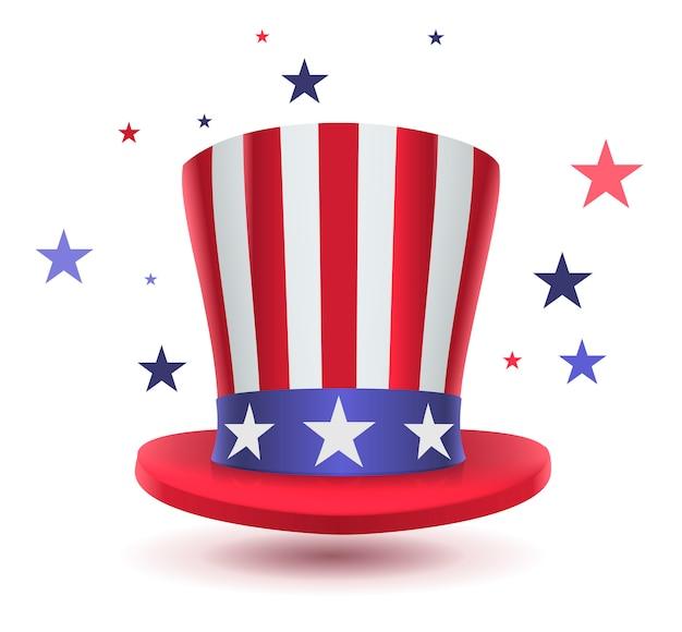 Oom sam hoed symbool van de dag van de voorzitters