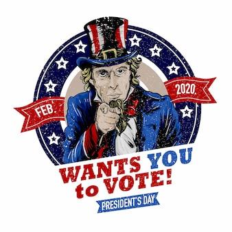 Oom sam wil dat je stemt op presidentdag 2020