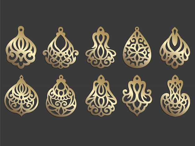 Oorbel van imitatieleer. lasergesneden sieraden sjabloon. sierlijke hanger.