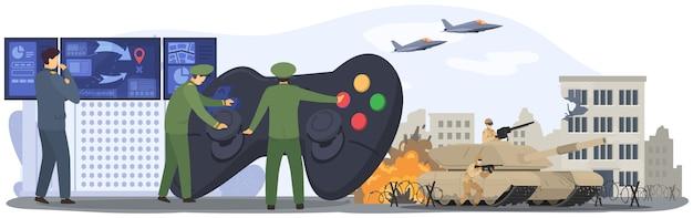Oorlog, militaire legermensen, soldatenstrijd, aanval van lucht- en grondtroepen, tankkracht, vliegtuigenillustratie.