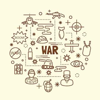 Oorlog minimale dunne lijn pictogrammen instellen
