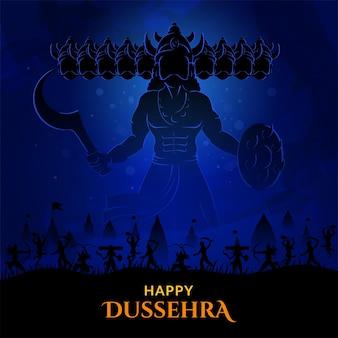 Oorlog van lord rama en ravana gelukkig dussehra navratri en durga puja festival van india