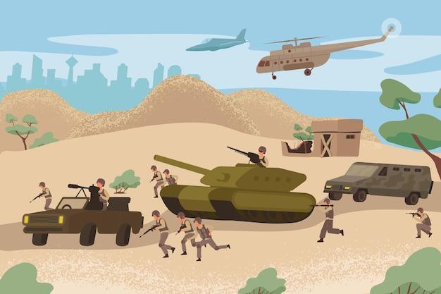 Oorlogsaanvalcompositie met de hele armada is op weg naar een illustratie van een militaire strijd