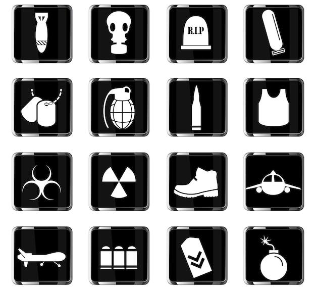 Oorlogssymbolen vector iconen voor gebruikersinterface ontwerp