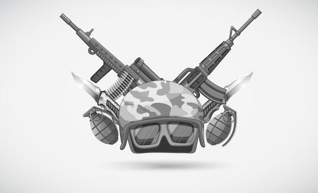 Oorlogsthema met helm en wapens