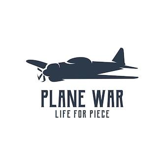 Oorlogsvliegtuig silhouet logo retro vintage