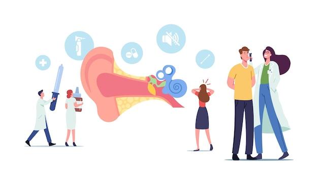 Oorpijn, tinnitus, otitis, concept. kleine mannelijke en vrouwelijke personages artsen en patiënten bij enorme menselijke oor anatomie dwarsdoorsnede weergave met cochlea en delen. cartoon mensen vectorillustratie