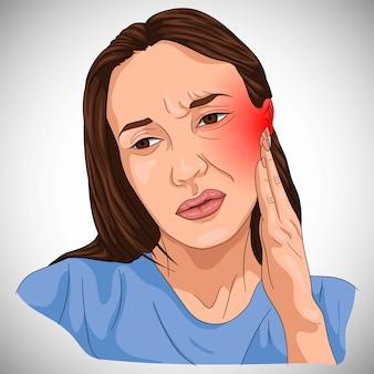 Oorproblemen geïllustreerd op een vrouw met rode benaming