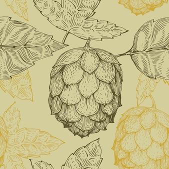 Oorspronkelijke vintage retro lijn naadloze vector patroon voor bierhuis, bar, pub, brouwerij, brouwerij, taverne, taproom, alehouse, beerhouse, dramshop restaurant