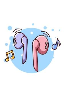 Oortelefoon blue-tooth voor het luisteren naar muziek audio cartoon illustratie