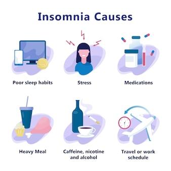 Oorzaken van slapeloosheid. stress en gezondheidsprobleem