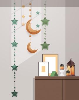 Oost-traditionele woonkamer interieur met decoratie eid mubarak ramadan kareem moslim religie heilige maand plat verticaal