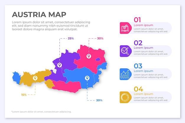 Oostenrijk kaart infographic in plat ontwerp