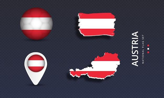 Oostenrijk nationale land golfvlag set