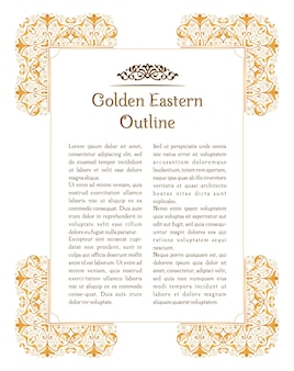 Oosters gouden bloemenframe voor decoratieontwerpsjabloon
