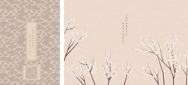 Oosters japans stijl abstract patroon achtergrondontwerp Premium Vector