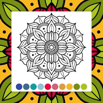 Oosterse bloemmandala. antistress volwassenen kleurplaat