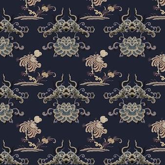 Oosterse chinese kunst vector bloem patroon achtergrond