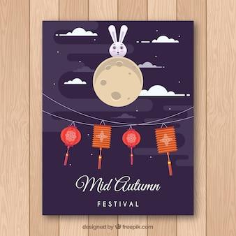 Oosterse festival poster met vlak ontwerp