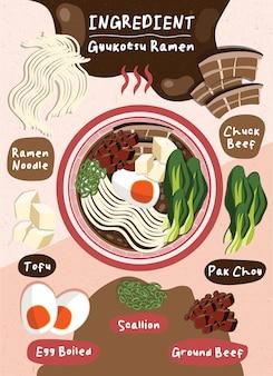 Oosterse japan eten vector lente-ui ramen verse tofu rundvlees ei gekookt noedels ingrediënt gerecht
