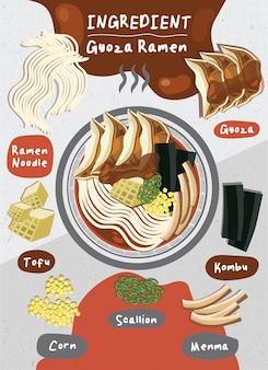 Oosterse japan eten vector lente-ui ramen verse tofu rundvlees ei gekookte noedels ingrediënt gerecht gyoza menma