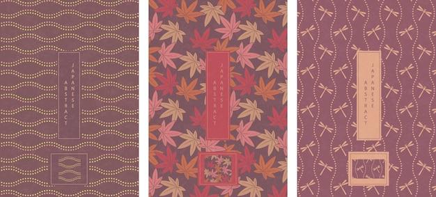 Oosterse japanse stijl abstracte patroon achtergrond ontwerp geometrie golf beweging puntlijn en esdoornblad libel