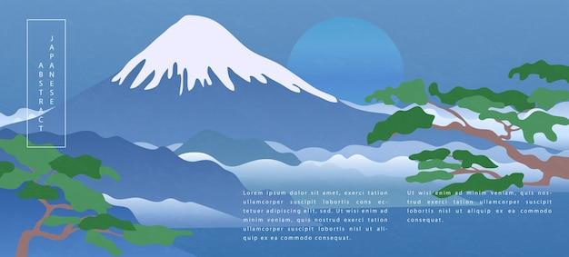 Oosterse japanse stijl abstracte patroon achtergrond ontwerp natuur landschapsmening van fuji bergmeer blauwe lucht en boom