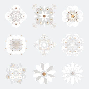 Oosterse mandala patroon bloemen symbool collectie