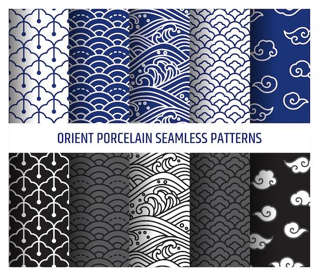 Oosterse porselein naadloze lijntekeningen patronen vector illustratie. aziatische golf en wolk.