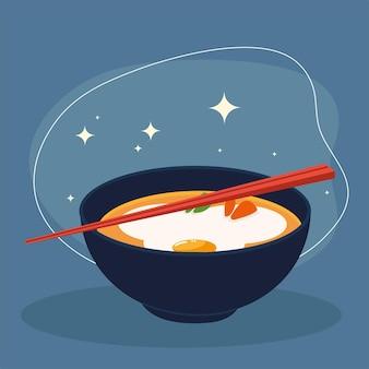 Oosterse soep met stokjes