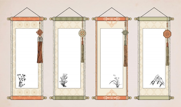 Oosterse vintage aziatische scroll. chinese hanging scroll koreaans. japans roldocument.