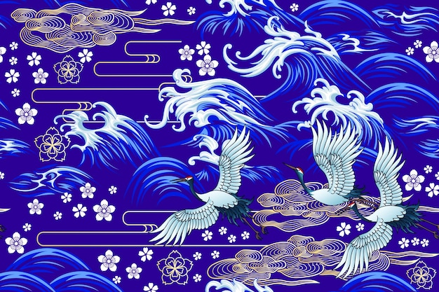 Oosterse zee naadloze decoratieve vector patroon