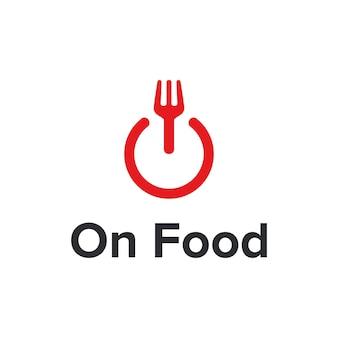 Op aan / uit-knop en vork eten eenvoudig strak creatief geometrisch modern logo-ontwerp