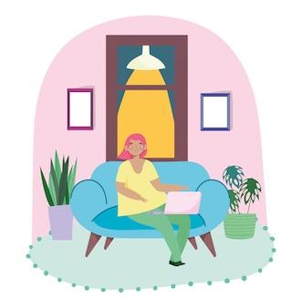 Op afstand werken, jonge vrouw in de kamer met laptop lamp planten en raam