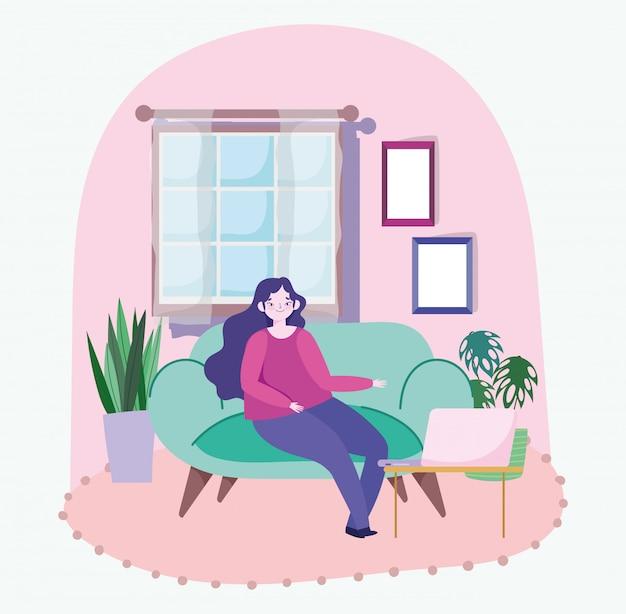 Op afstand werkend, jonge vrouw zittend op de bank met laptop kamer planten raam