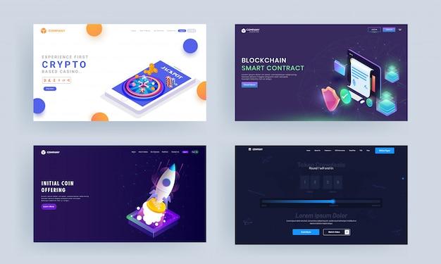 Op crypto gebaseerd casinospel, block chain smart contract, eerste muntenaanbieding en op tokens gebaseerd crowdsale concept-landingspaginaontwerp.