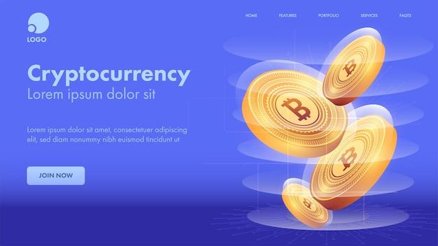Op cryptocurrency concept gebaseerde bestemmingspagina met 3d-gouden bitcoins