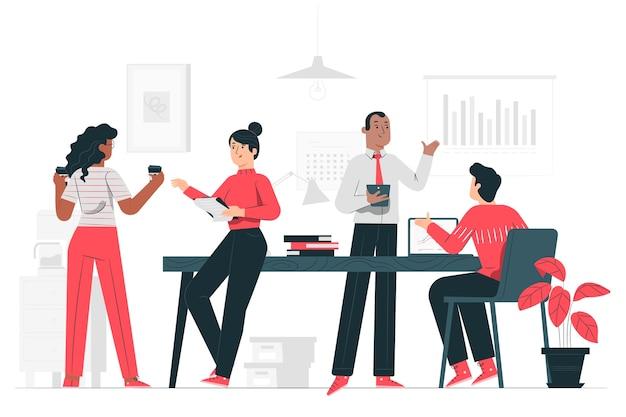 Op de illustratie van het kantoorconcept