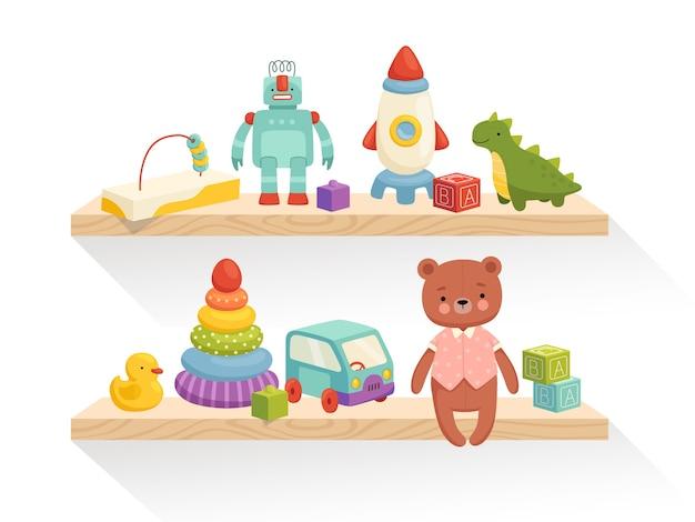 Op de planken ligt schattig kinderspeelgoed. onderdeel van het interieur van een kinderkamer of speelgoedwinkel. geïsoleerd op een witte achtergrond.