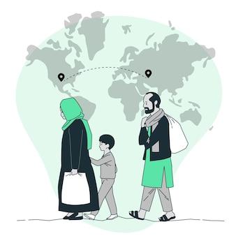 Op de vlucht voor hun thuisland concept illustratie