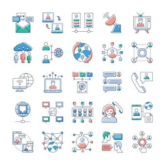 Op deze dag, het draait allemaal om snelle en snelle communicatie, we hopen dat u deze reclame- en communicatie-vectorbundel voor netwerken erg waardevol vindt voor uw stapel pictogrammen.