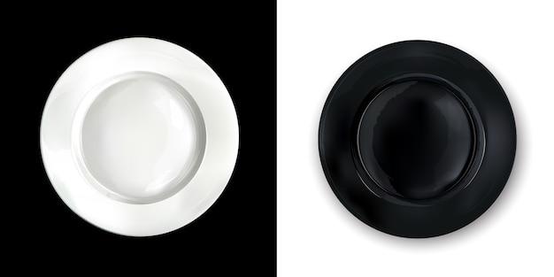 Op een contrasterende achtergrond, witte en zwarte ronde platen.