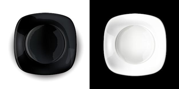 Op een contrasterende achtergrond, zwarte en witte vierkante platen.