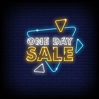 Op een dag verkoop neon tekenen stijl tekst vector