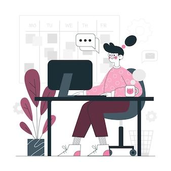 Op het kantoor concept illustratie