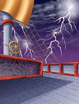 Op het piratenschip en de achtergrond van de blikseminslaghemel.